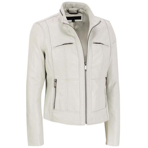 Women White Leather Jacket WJKT-109 - Zohranglobal.com