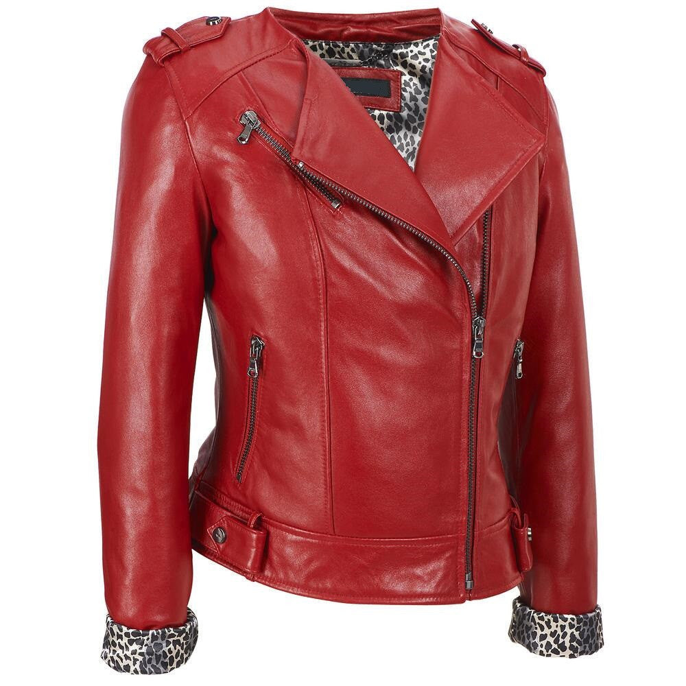 Women Red Leather Jacket WJKT-111 - Zohranglobal.com