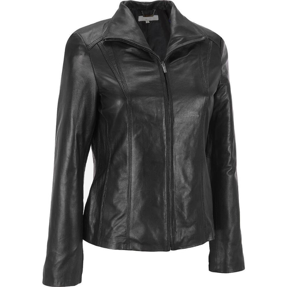 Women Black Leather Jacket WJKT-112 - Zohranglobal.com