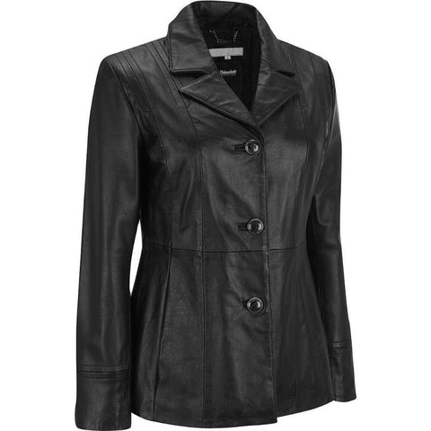 Women Black Leather Blazer WJKT-118 - Zohranglobal.com