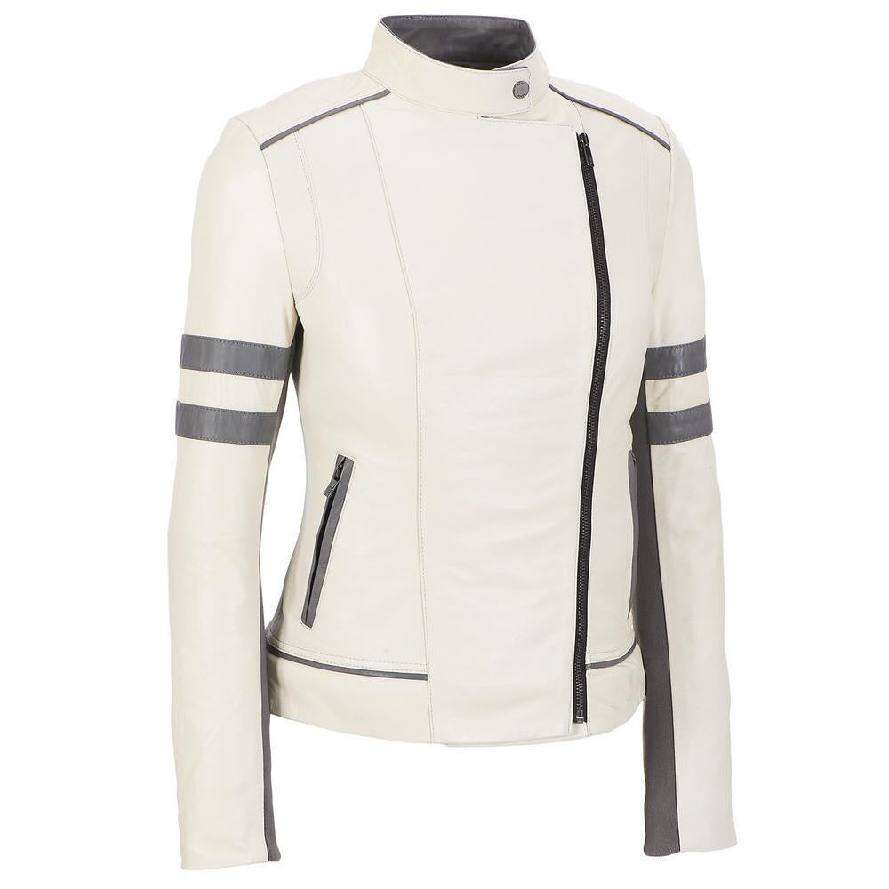 Women White Leather Jacket WJKT-120 - Zohranglobal.com