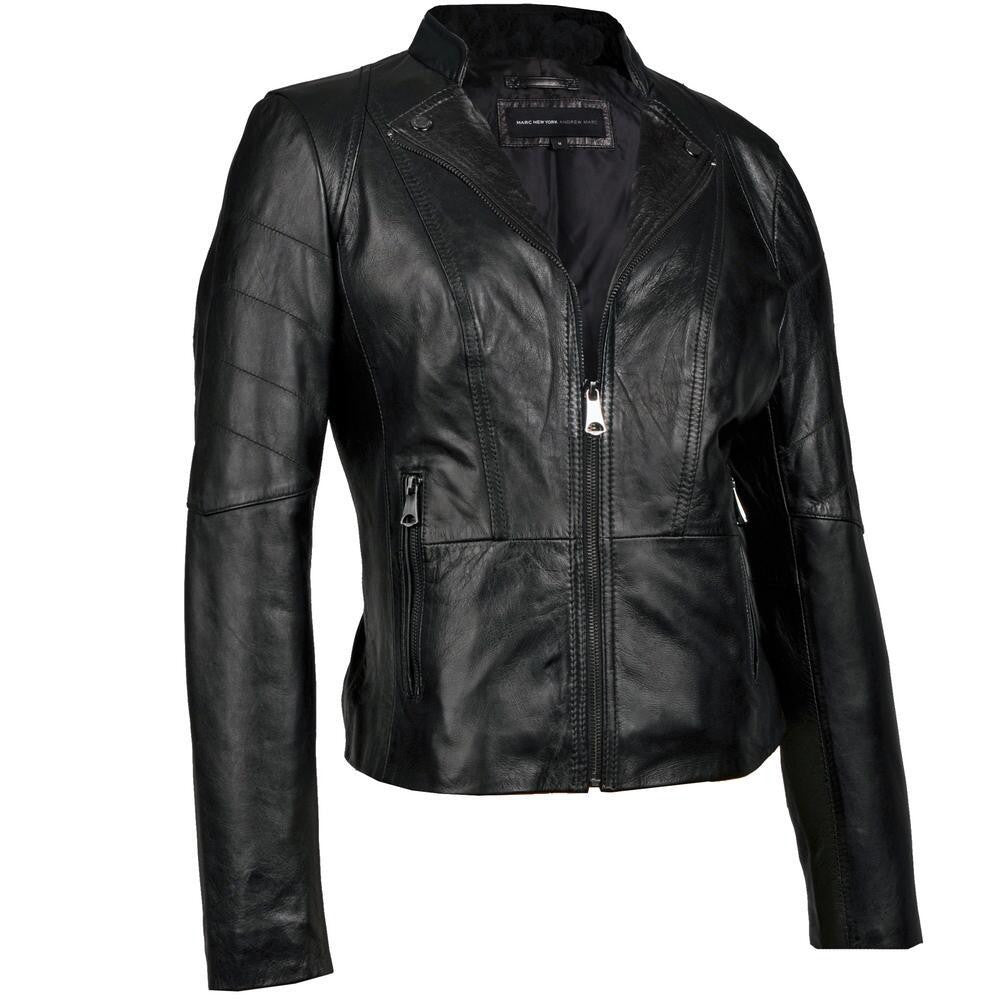 Women Black Leather Jacket WJKT-128 - Zohranglobal.com