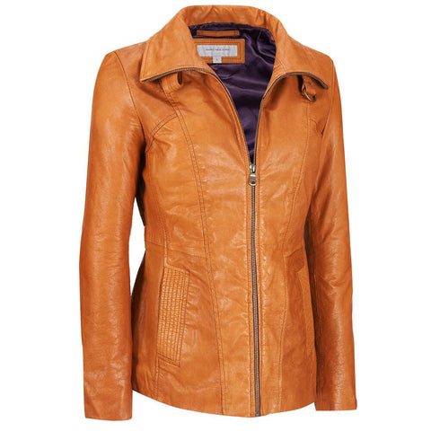 Women Tan Leather Jacket WJKT-132 - Zohranglobal.com