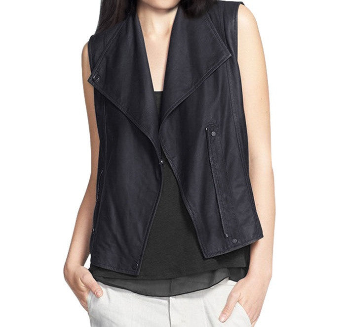 Women Leather Waist Coats WWSCT-101 - Leather Waistcoats - Zohranglobal.com