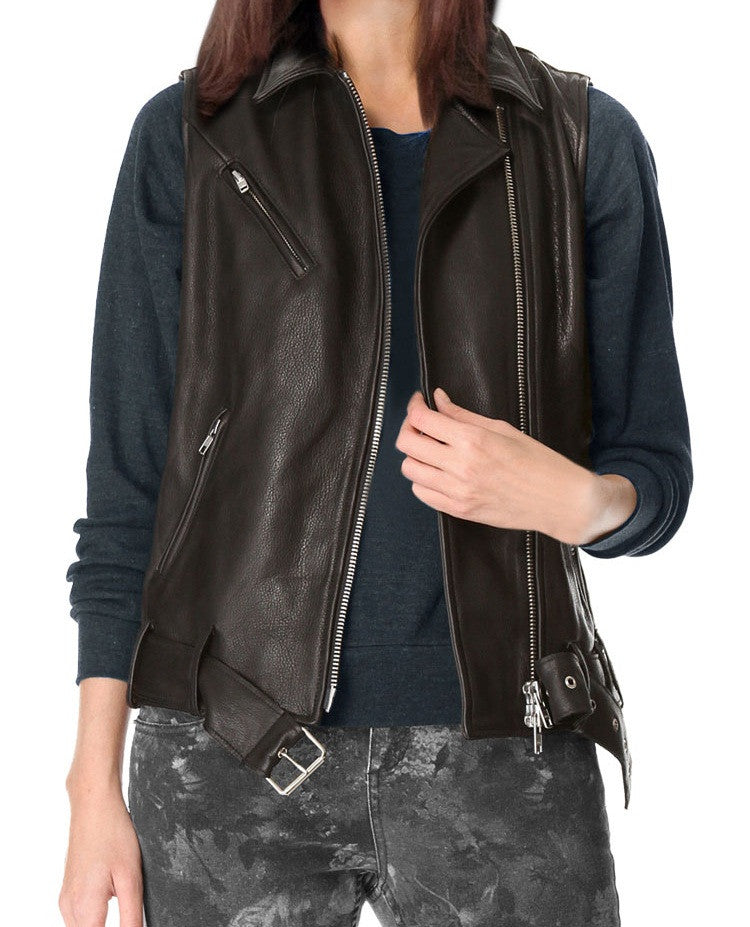 Women Leather Waist Coats WWSCT-104 - Leather Waistcoats - Zohranglobal.com