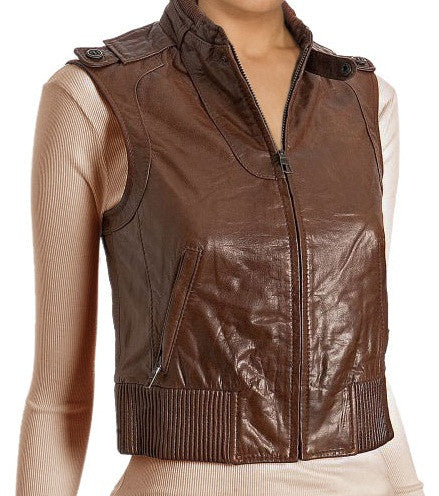 Women Leather Waist Coats WWSCT-110 - Leather Waistcoats - Zohranglobal.com