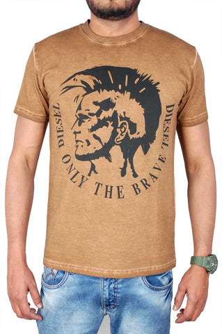 Deisel Men Brown Cotton T-Shirt TSA