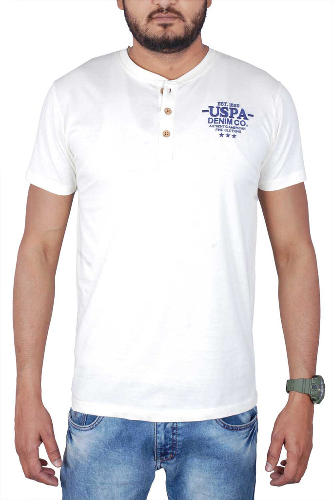US Polo Men Beige Cotton T-Shirt TSB