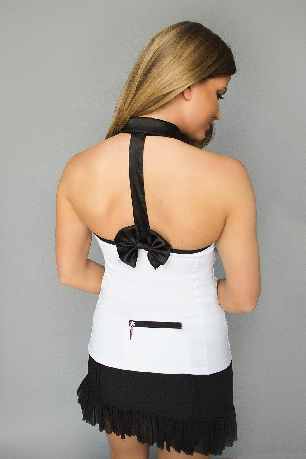 Bow T-Back Golf Polo - White - FlirTee Golf