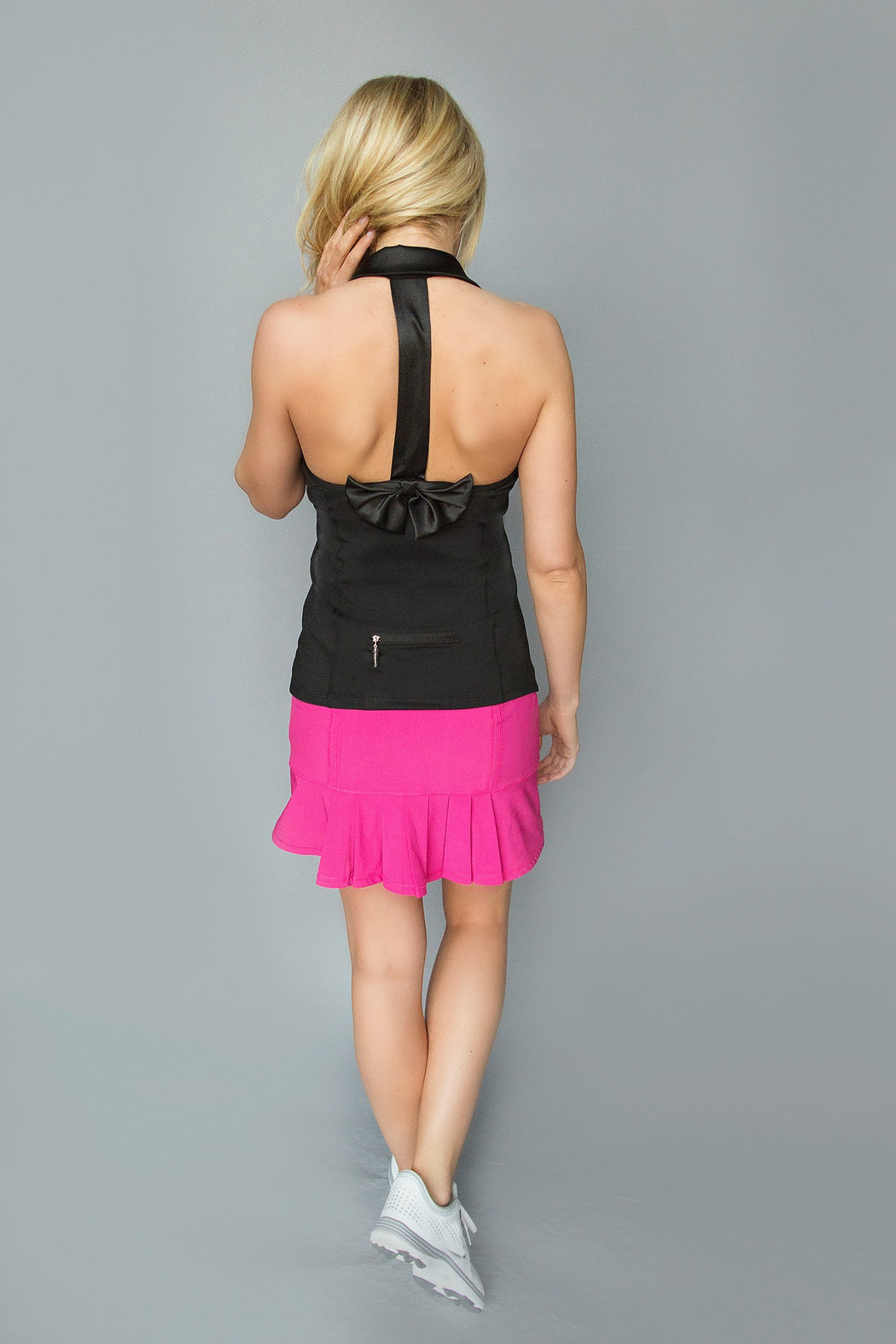 Bow T-Back Golf Polo - Black - FlirTee Golf