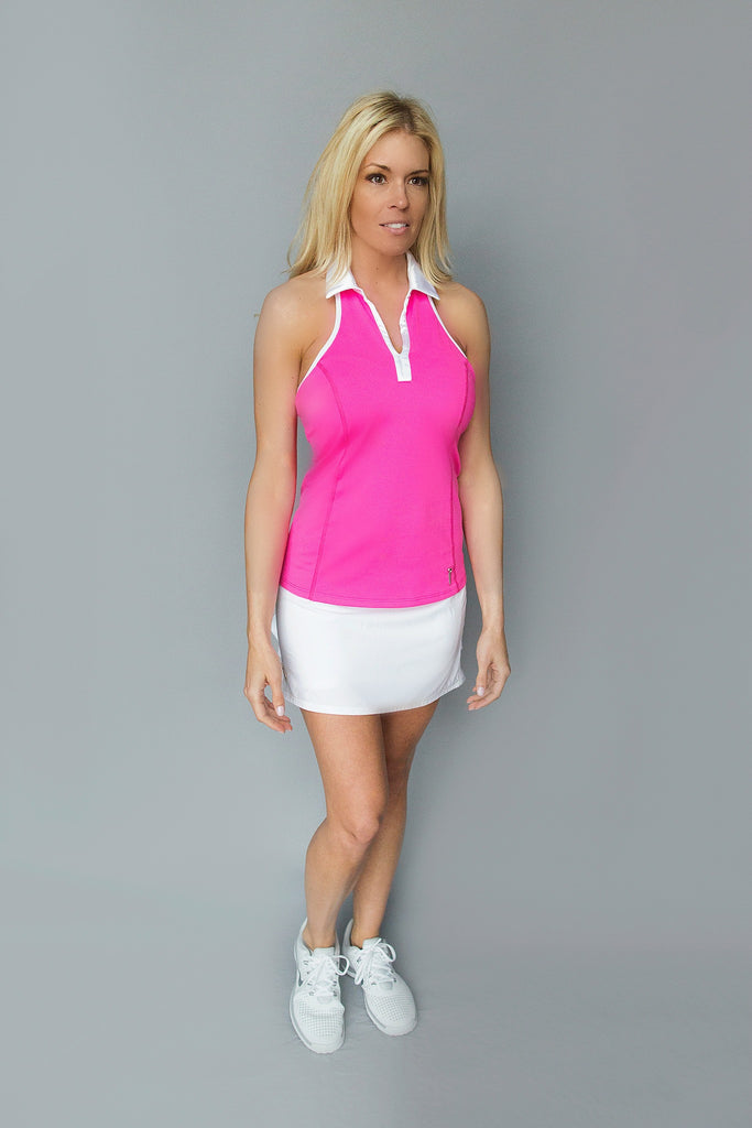 Bow T-Back Golf Polo - FlirTee Pink - FlirTee Golf