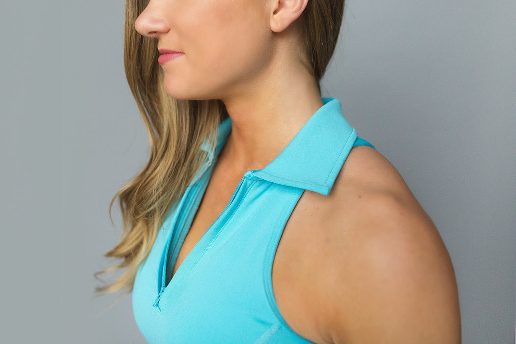 Cutout Racerback Golf Polo - Bright Teal Blue - FlirTee Golf