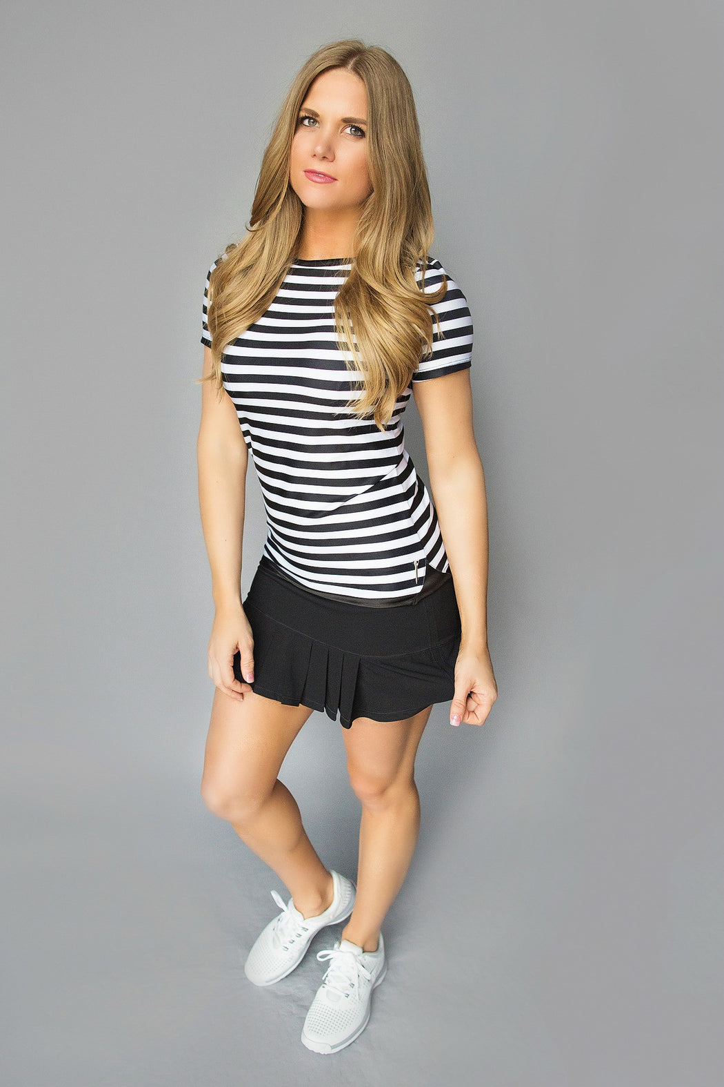 Scoop Back Golf Tee - Black and White Stripes - FlirTee Golf