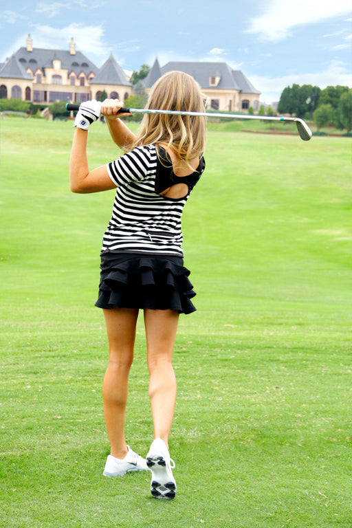 Scoop Back Golf Tee - Black and White Stripes