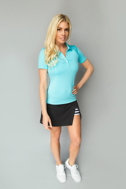 FlirTee Mesh Inlay Polo - Bright Teal Blue - FlirTee Golf