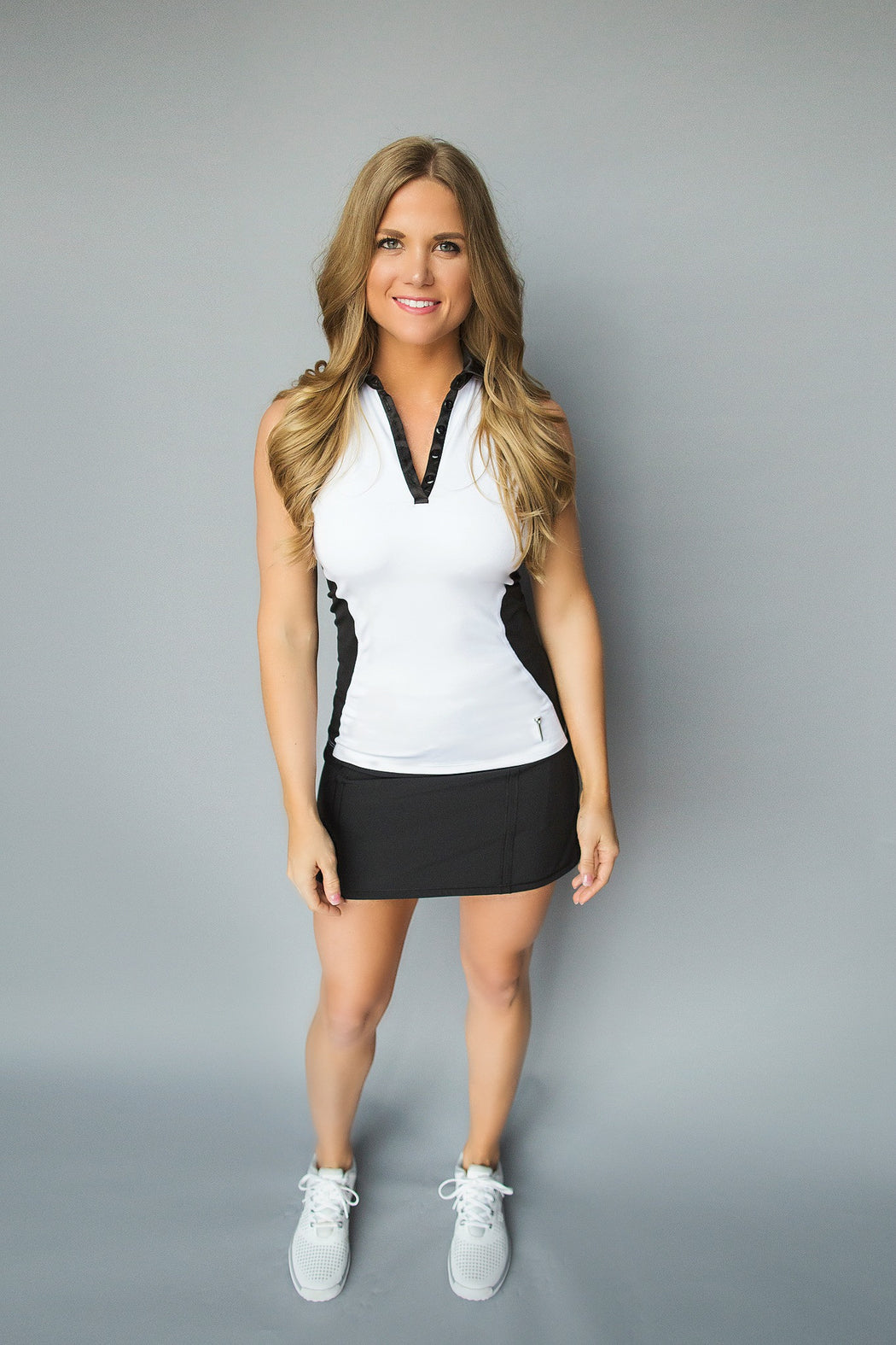Illusion Golf Polo - Black and White - FlirTee Golf