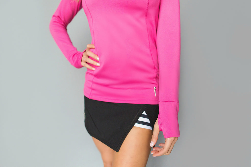 Cutout Long Sleeve Golf Shirt - Classic Pink - FlirTee Golf