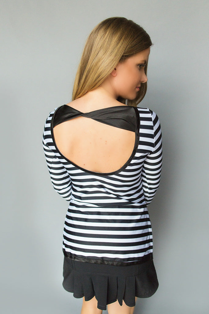 Scoop Back Golf Tunic - Black and White Stripes