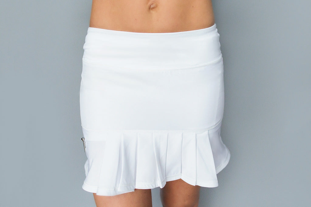 Front/Back Pleated Golf Skirt - White - FlirTee Golf