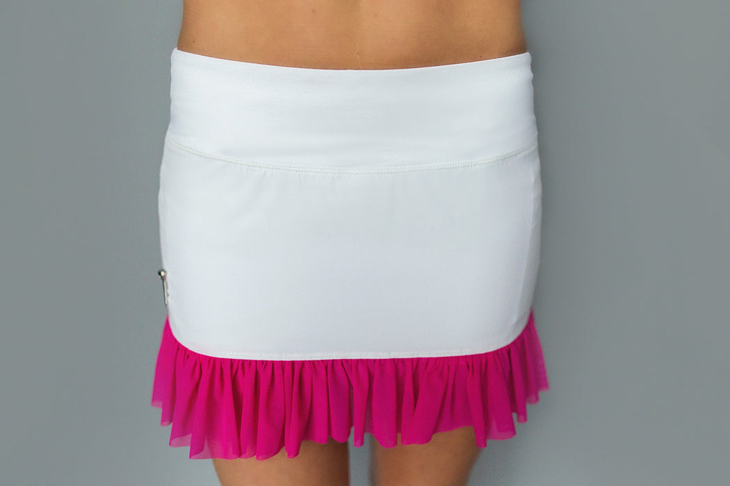 Mesh Ruffle Hem Golf Skirt - White and Pink - FlirTee Golf