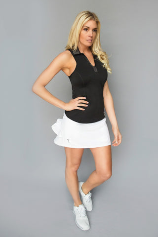 Striped Hem Golf Skirt - Black