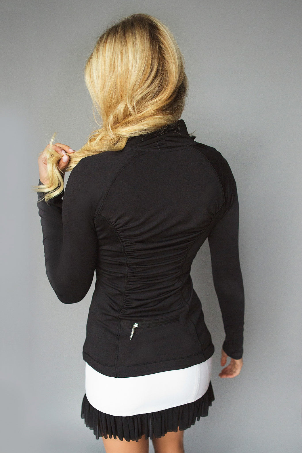 Ace Ruched Golf Jacket - Black - FlirTee Golf