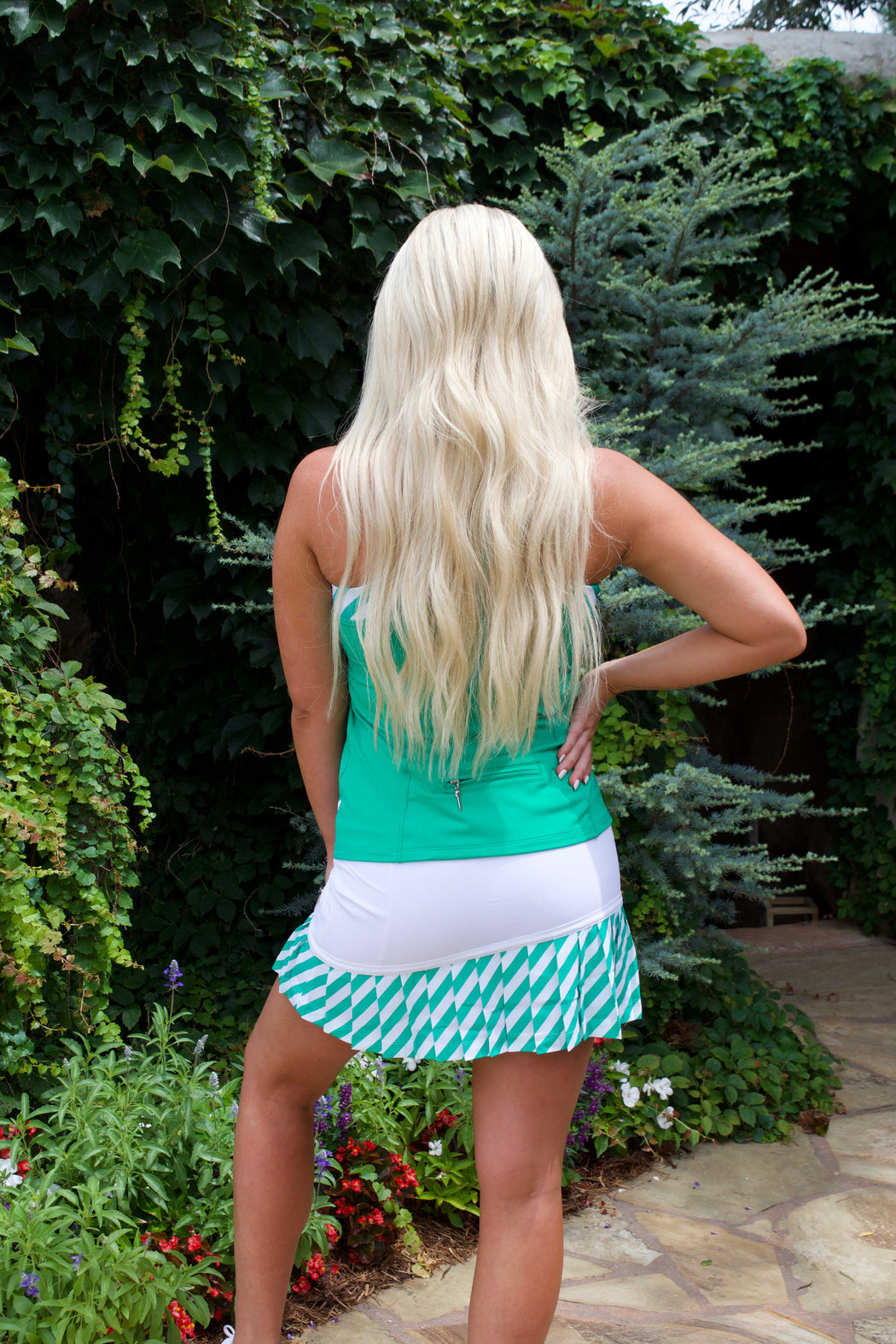 NEW! Asymmetrical Pleated Golf Skirt - White with Envy Green Striped Pleats
