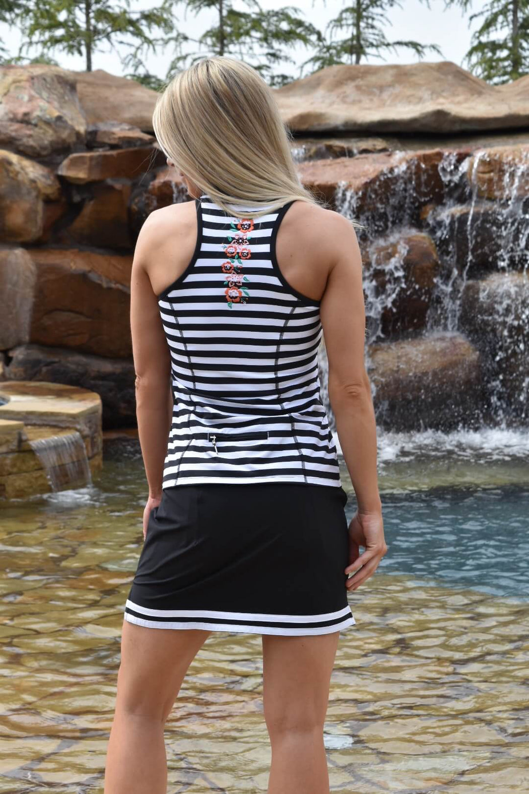 NEW! Limited Edition! Embroidered Racerback Golf Polo - Stripes