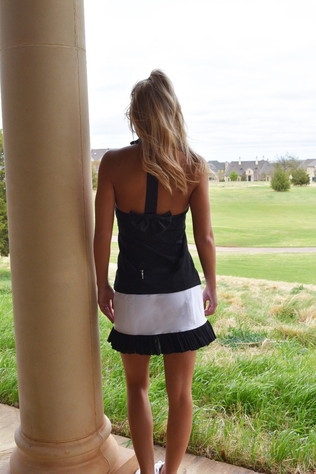 Mesh Ruffle Hem Skirt - Black and White - FlirTee Golf