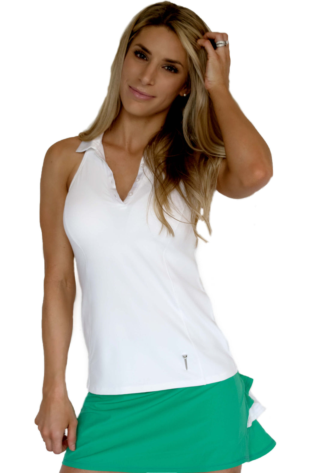 NEW! Racerback Golf Polo - White - FlirTee Golf