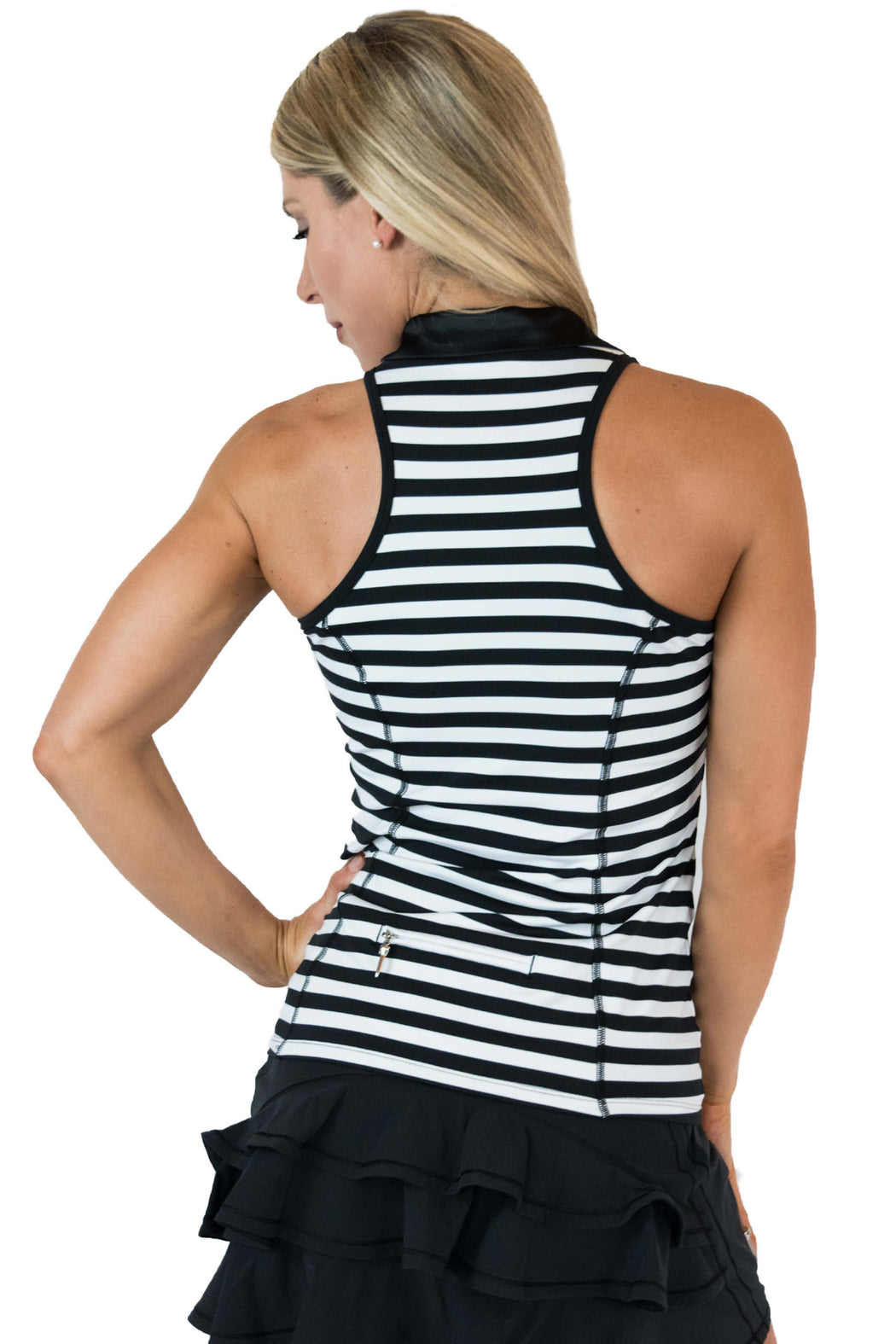 NEW! Racerback Golf Polo - Black & White Stripes