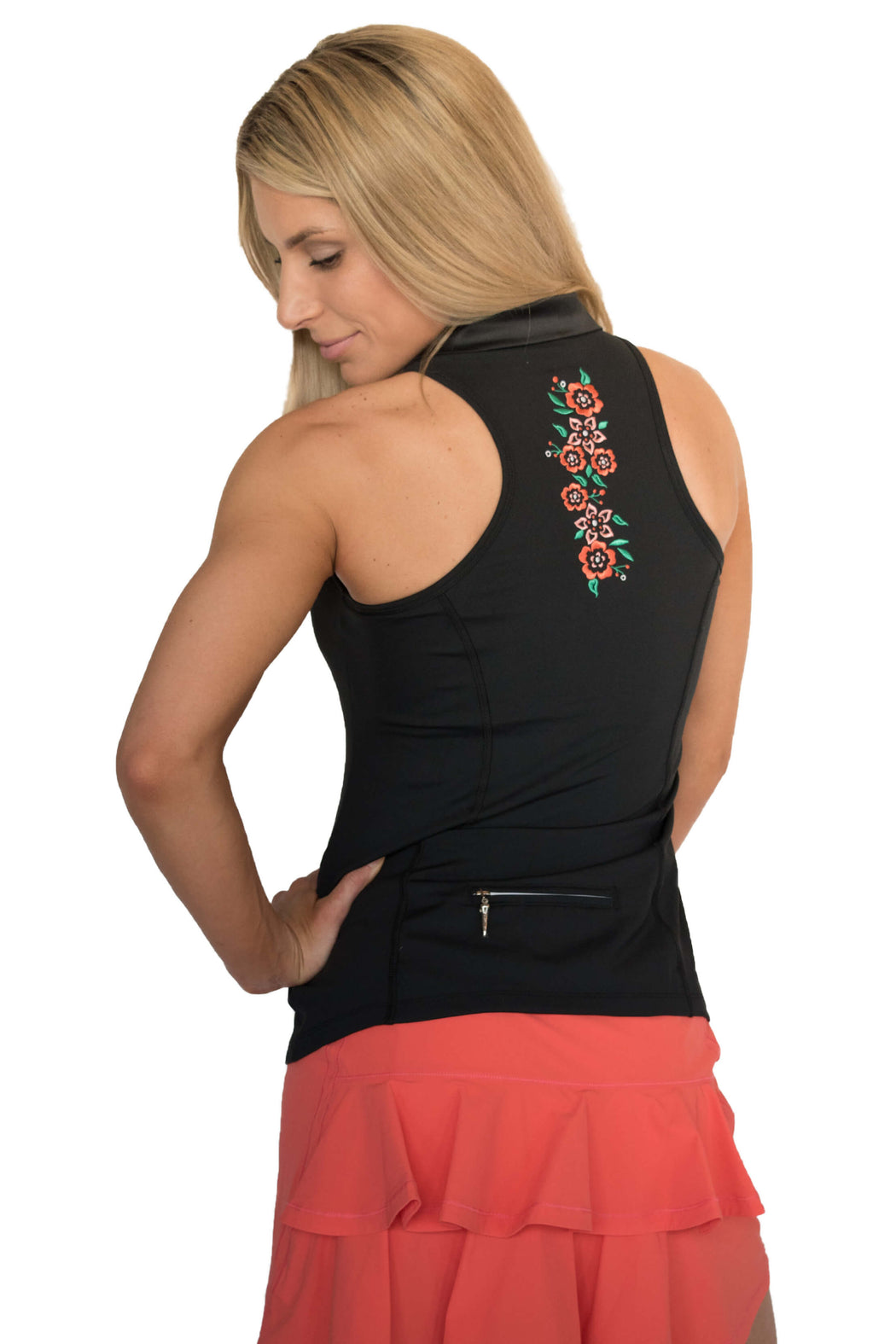 NEW! Limited Edition! Embroidered Racerback Golf Polo - Black - FlirTee Golf