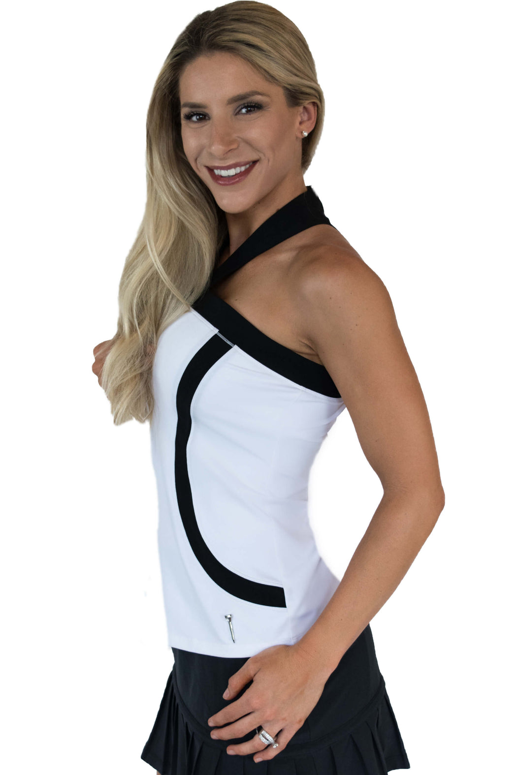 NEW! Contrast Curves Racerback Golf Polo - White with Black Curves - FlirTee Golf