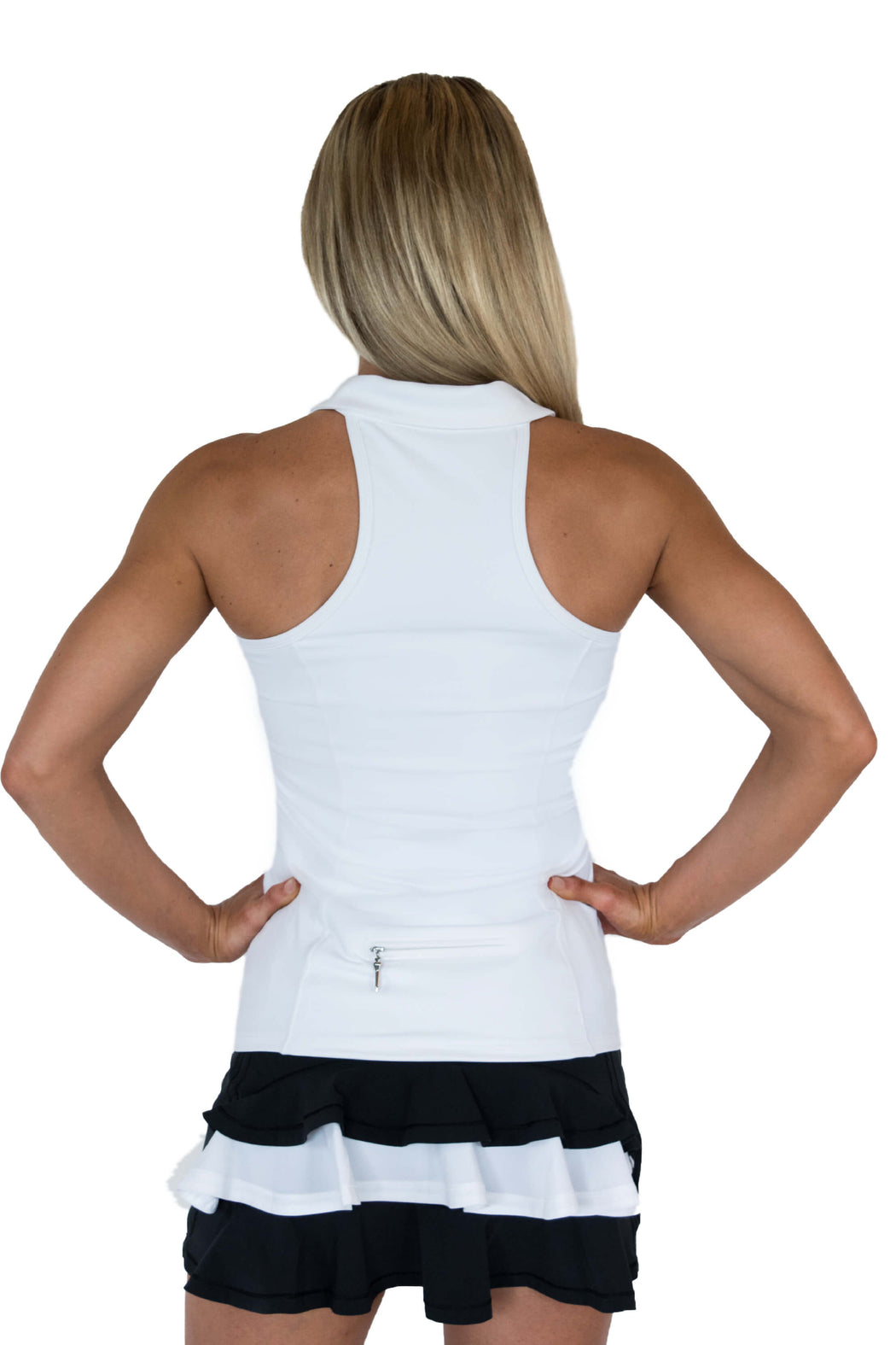 NEW! Sweetheart Mesh Racerback Golf Polo - White - FlirTee Golf
