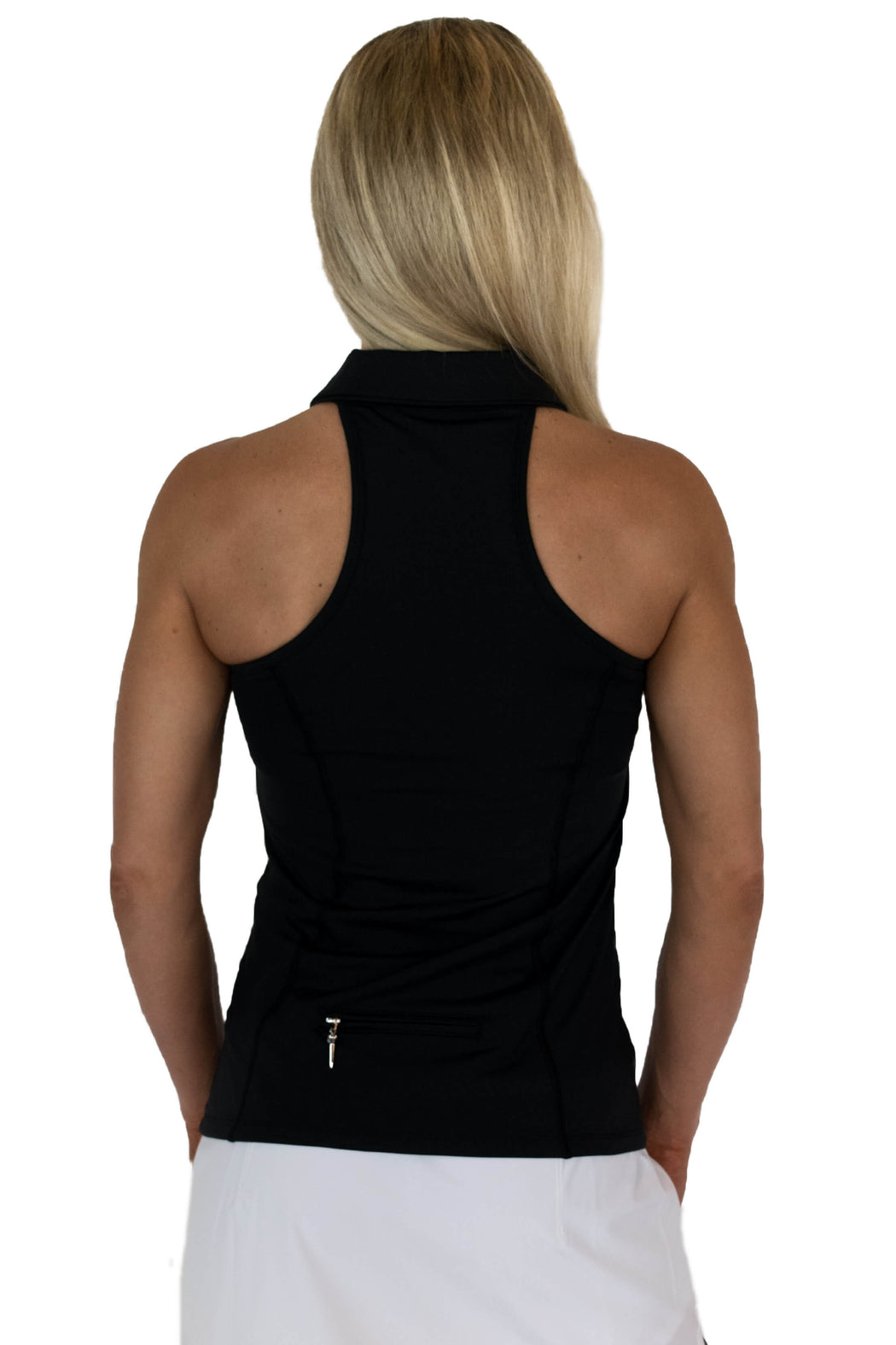 NEW! Sweetheart Mesh Racerback Golf Polo - Black - FlirTee Golf