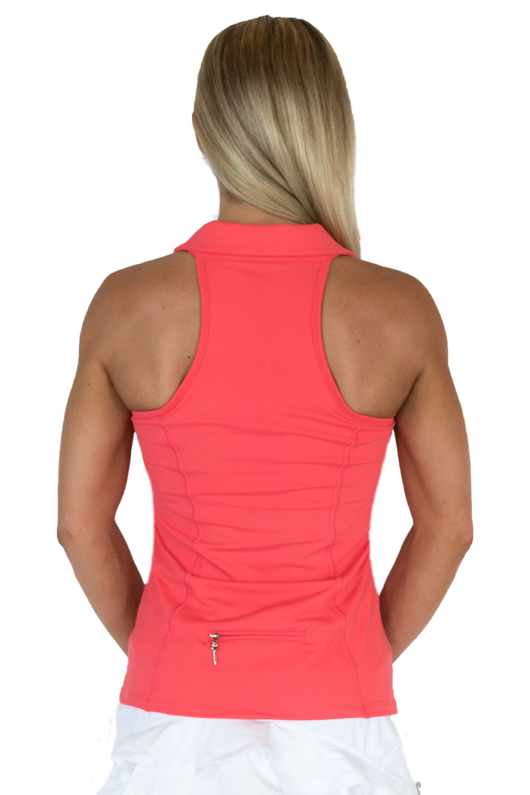 NEW! Sweetheart Mesh Racerback Golf Polo - Haute Coral - FlirTee Golf