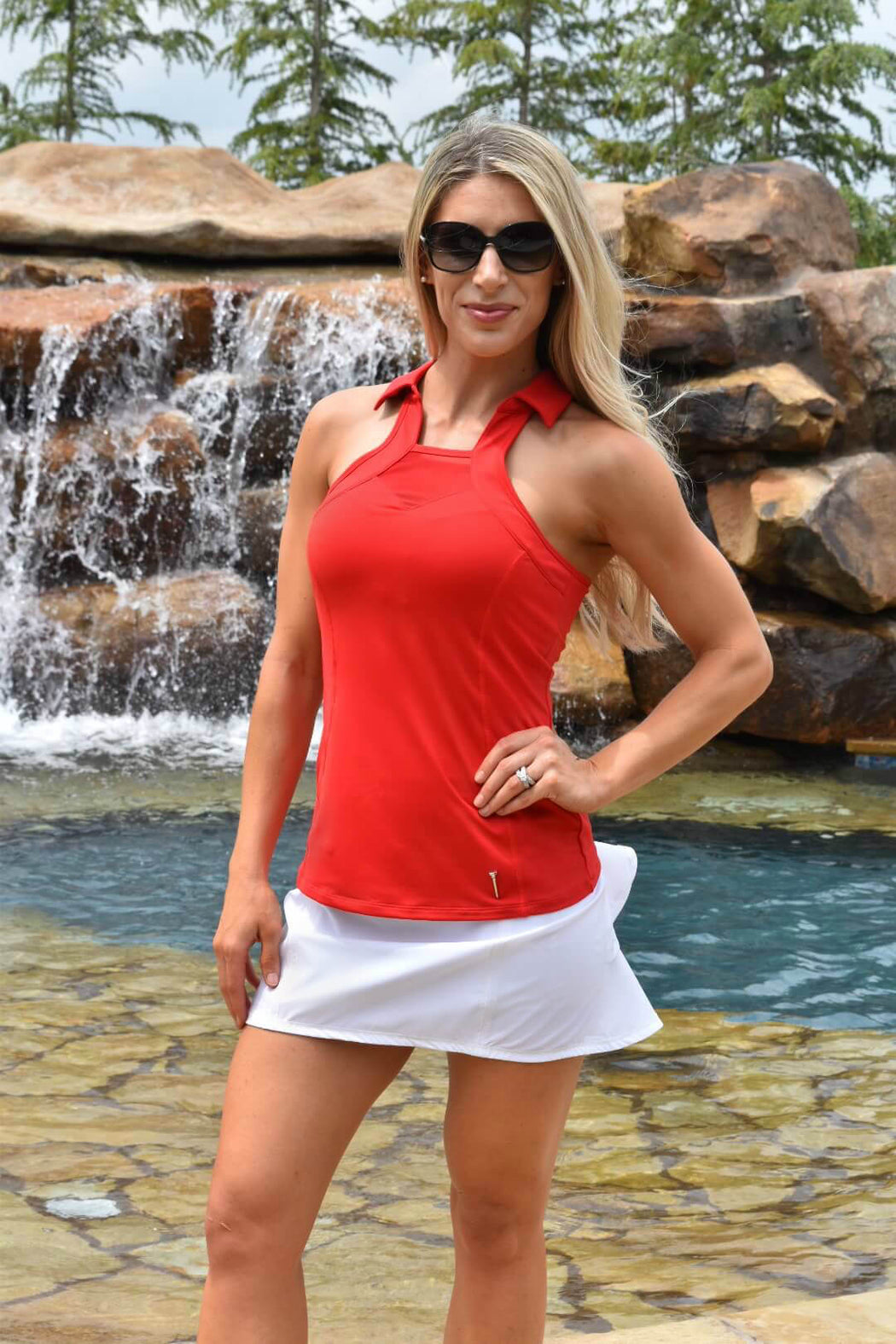 NEW! Sweetheart Mesh Racerback Golf Polo - Red