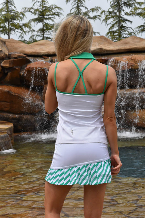 NEW! Strap Back Golf Polo - White with Envy Green Straps - FlirTee Golf