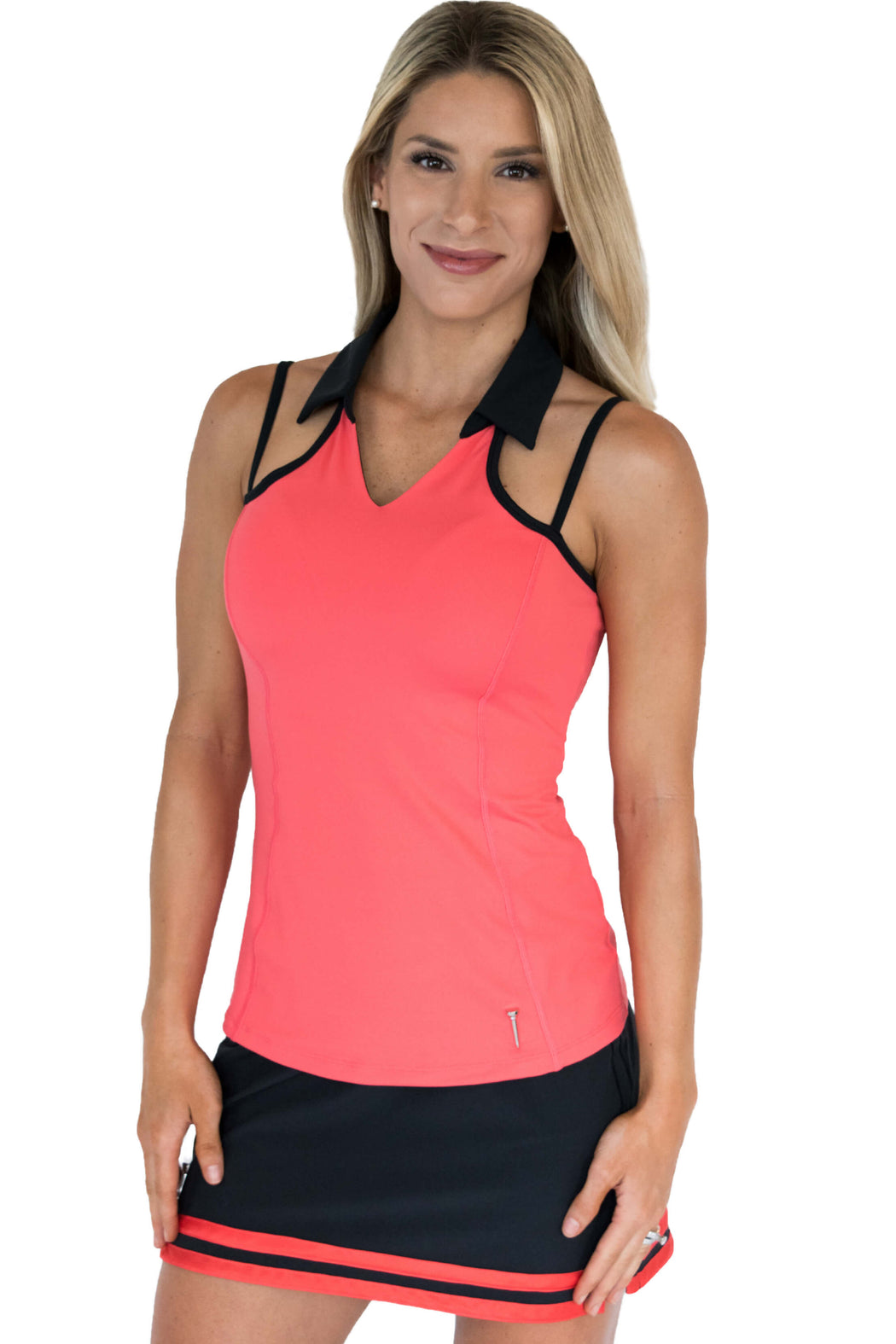 NEW! Strap Back Golf Polo - Haute Coral w/Black Straps - FlirTee Golf