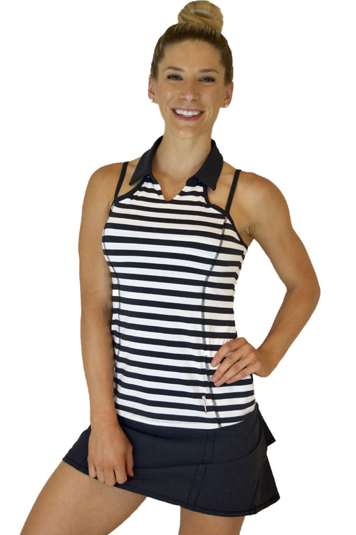 NEW! Strap Back Golf Polo - Black and White Stripes - FlirTee Golf