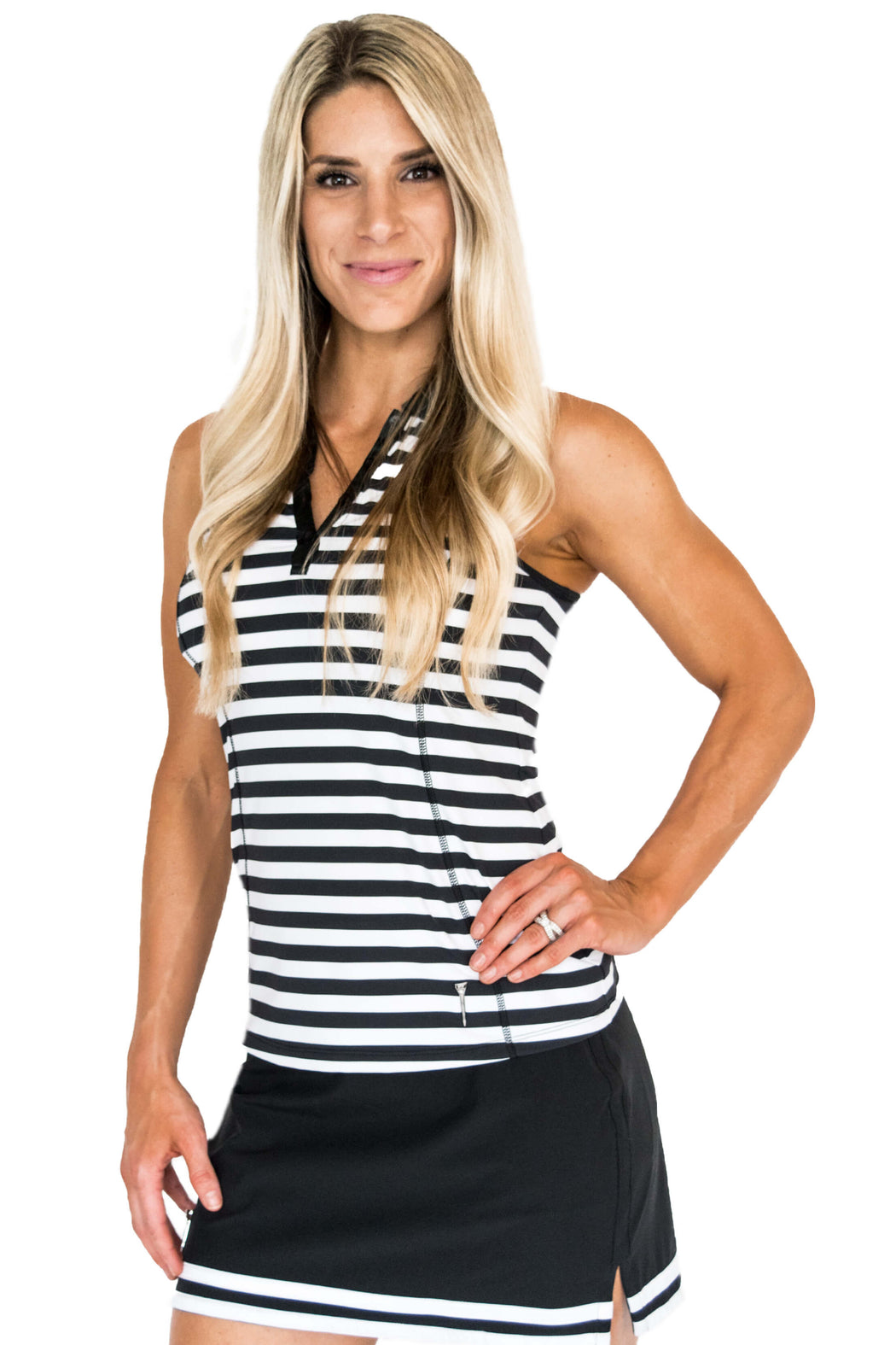 NEW! Limited Edition! Embroidered Racerback Golf Polo - Stripes - FlirTee Golf