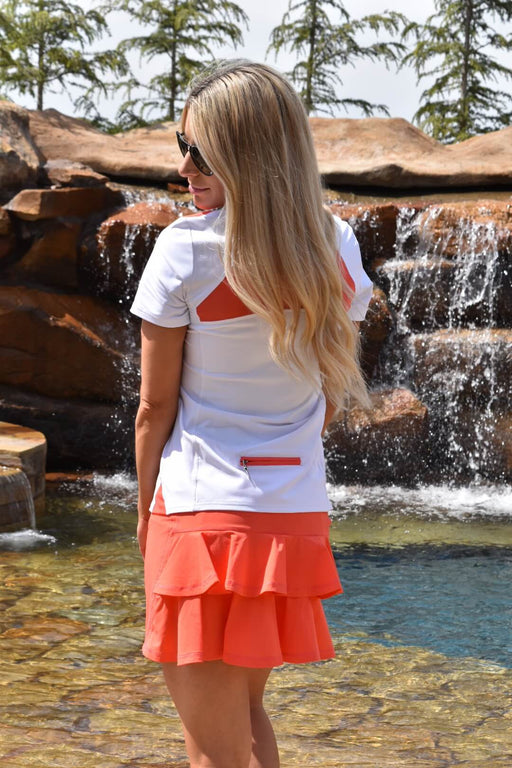 NEW! Double Ruffle Golf Skirt - Haute Coral - FlirTee Golf