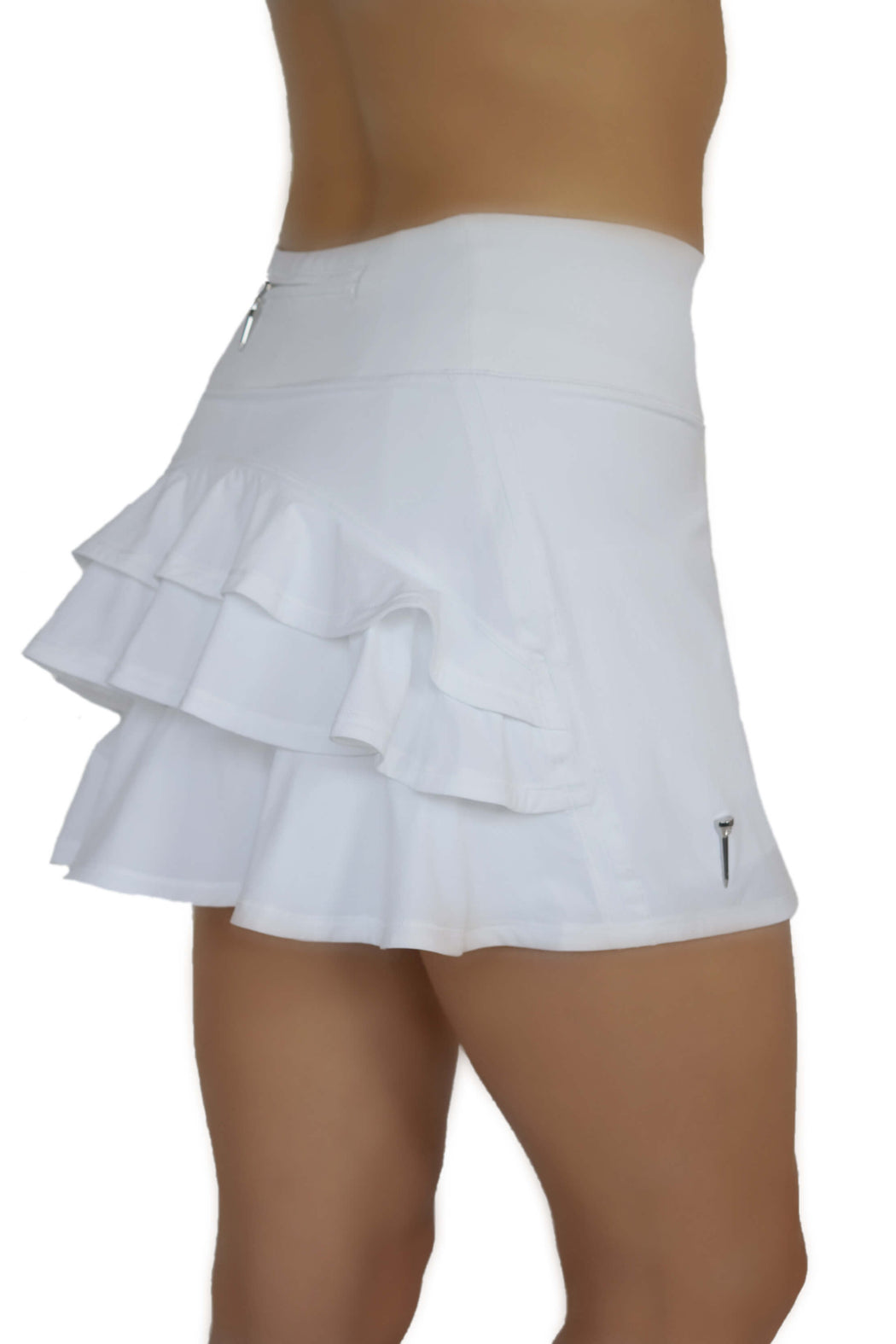 NEW! Ruffle Butt Golf Skirt - White - FlirTee Golf