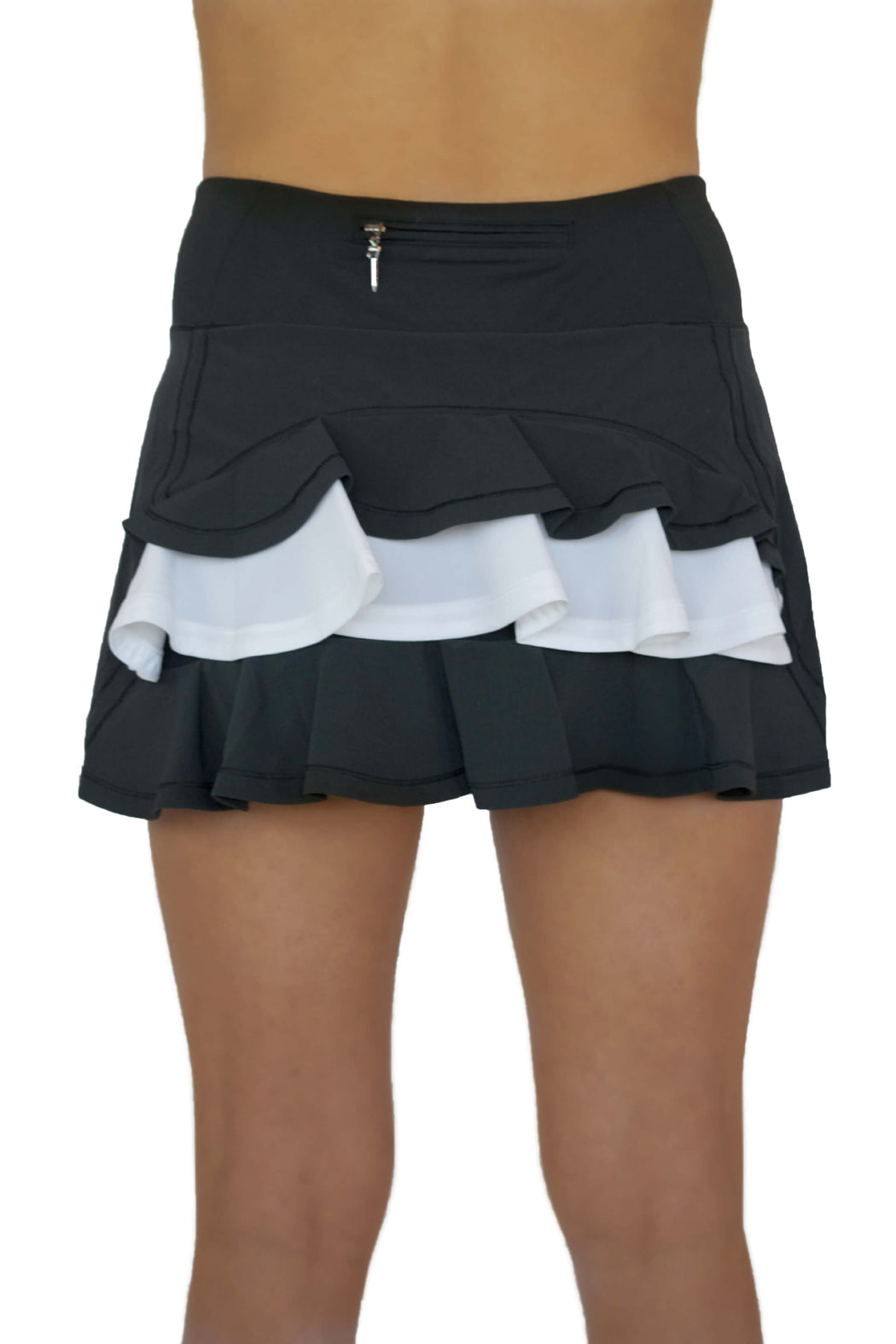 NEW! Ruffle Butt Golf Skirt - Black with White Middle Ruffle - FlirTee Golf