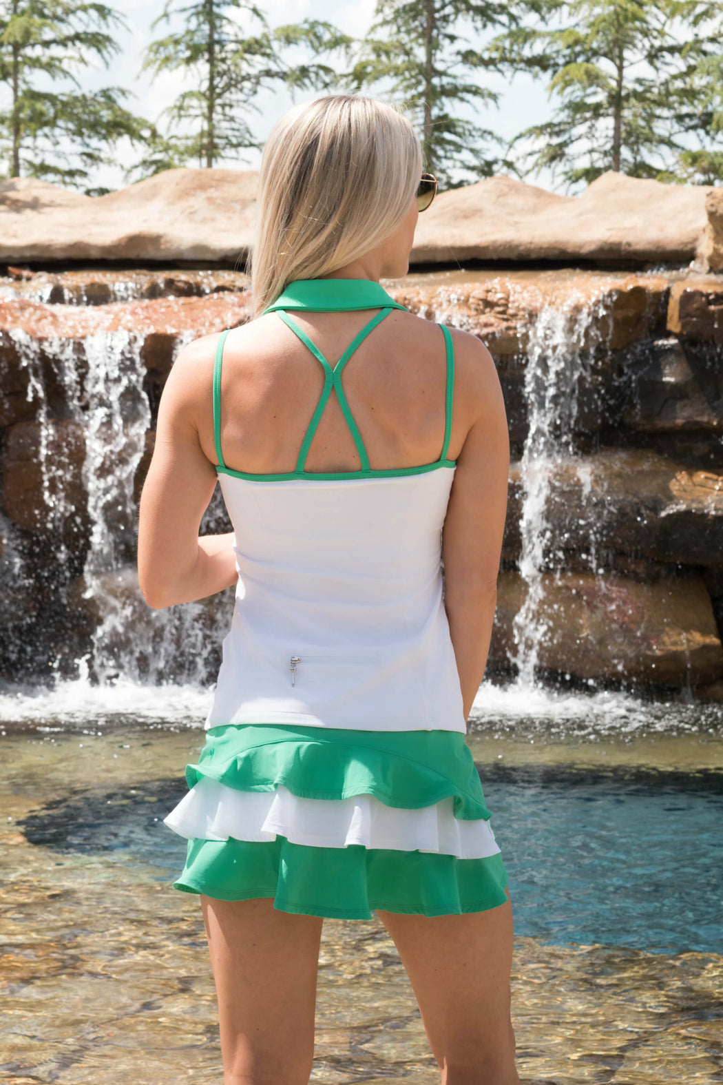 NEW! Ruffle Butt Golf Skirt - Envy Green with White Middle Ruffle - FlirTee Golf