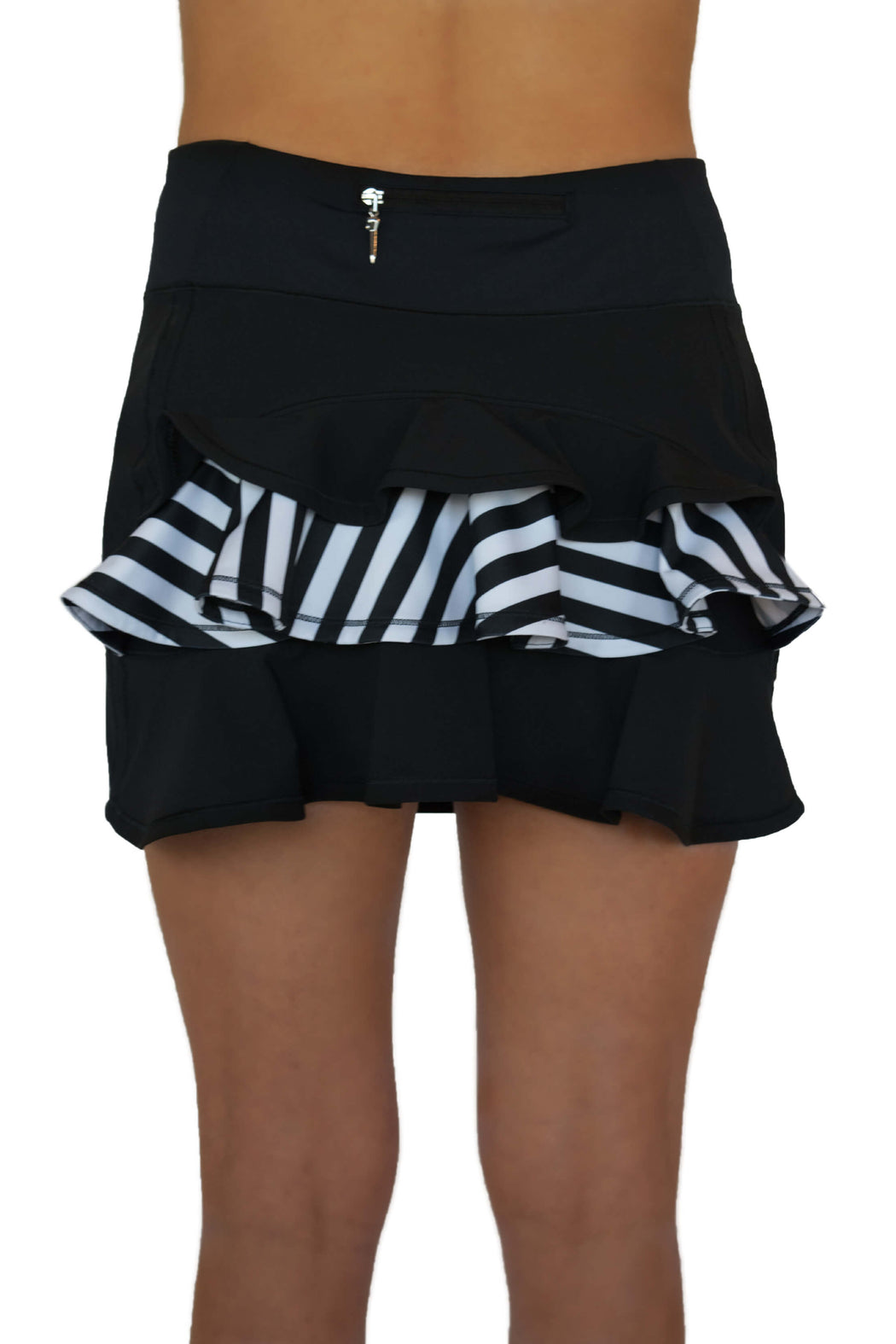 NEW! Ruffle Butt Golf Skirt - Black with Striped Middle Ruffle - FlirTee Golf