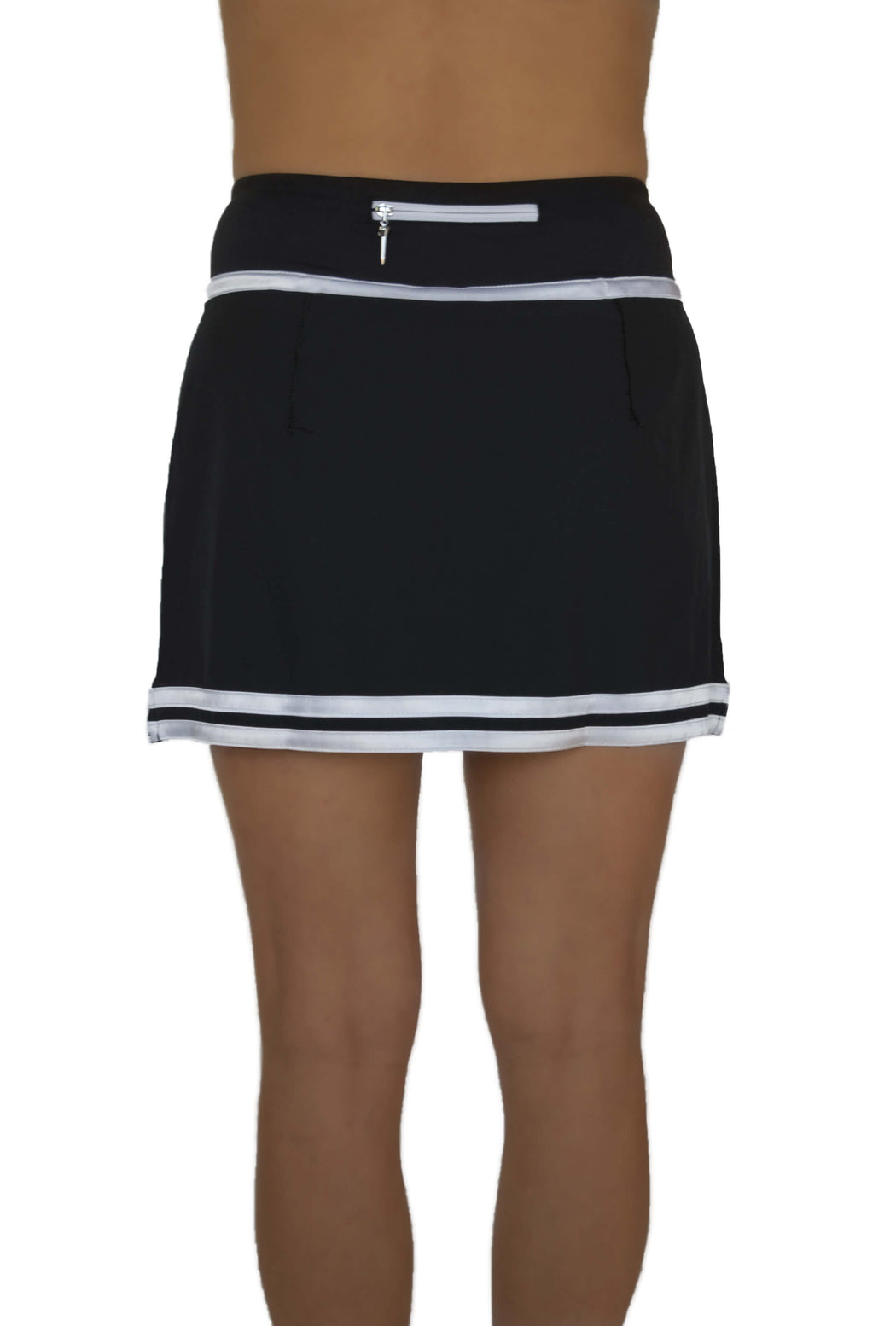 NEW! Striped Hem Golf Skirt - Black with White Stripes - FlirTee Golf