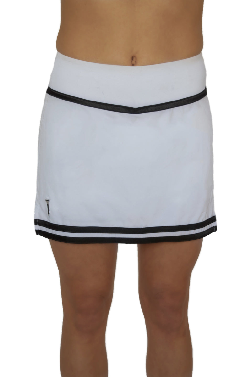 NEW! Striped Hem Golf Skirt - White with Black Stripes - FlirTee Golf