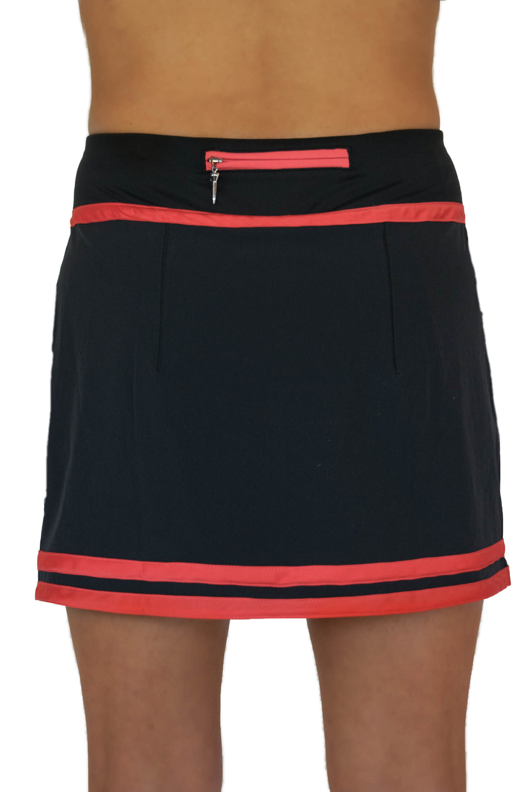 NEW! Striped Hem Golf Skirt - Black with Haute Coral Stripes - FlirTee Golf