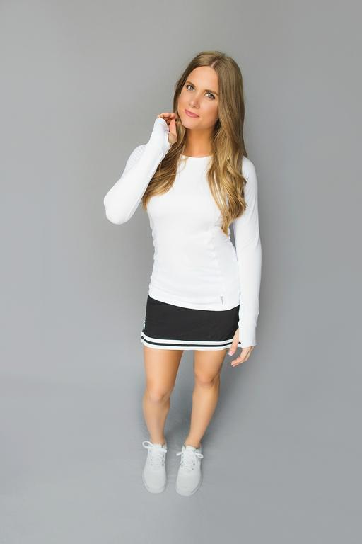 Cutout Long Sleeve Golf Shirt - White - FlirTee Golf